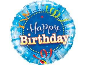 "18"" fóliový balónek kruh - modré narozeniny"