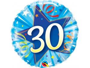 "18"" foliový balónek kruh - modré narozeniny 30"