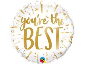 """18"""" fóliový balónek kruh - YOU'RE THE BEST zlatý"""