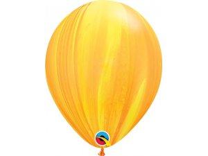 "11"" Balónek Qualatex mramor žluto-oranžový 1ks"