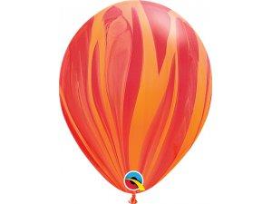 """11"""" Balónek Qualatex mramor červeno-oranžový 1ks"""