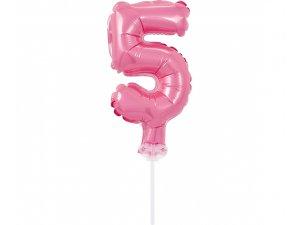 """Číslice růžová dortová 5 (13cm, 5"""")"""
