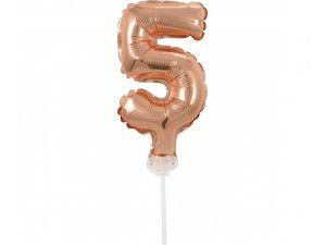 "Číslice růžovo-zlatá dortová 5 (13cm, 5"")"