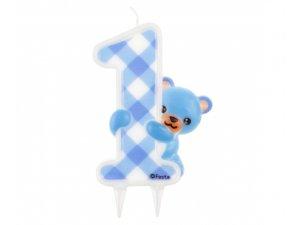 Svíčka dortová medvídek modrý 1