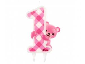 Svíčka dortová medvídek růžový 1