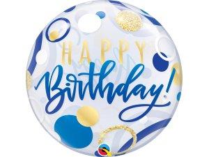 "22"" bublina - Birthday puntíky modro-zlaté"