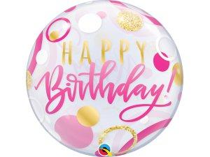 """22"""" bublina - Birthday puntíky růžovo-zlaté"""