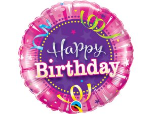 "18"" fóliový balónek kruh - růžové narozeniny"