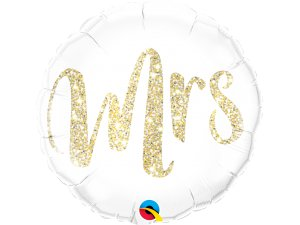 """18"""" fóliový balónek Mrs. lesklý zlatý"""