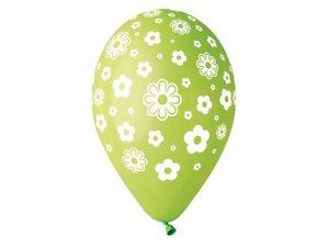 Balónek pastel 30 cm květiny potisk (100ks/bal)