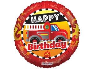 Kruh 46cm BIRTHDAY hasičský vůz