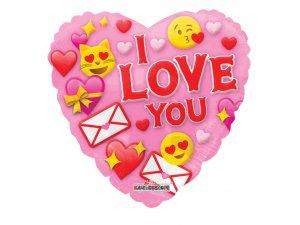 Srdce 46cm usměvavé - I love you