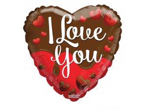 Srdce 46cm čokoládové I love you