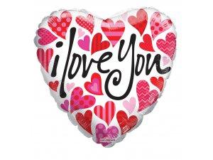 Srdce 46cm bílé se srdíčky - I love you