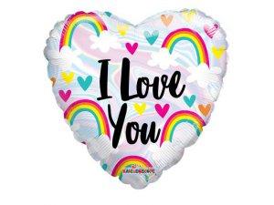 Srdce 46cm - Duha a srdce lesklé I love you