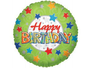Kruh 46cm - Zelené Happy Birthday