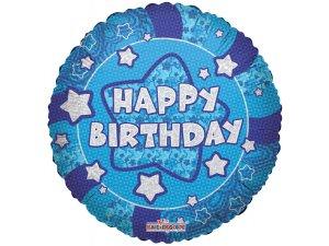 Kruh 46cm - Lesklé modré Happy Birthday
