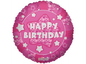 Kruh 46cm - Lesklé růžové Happy Birthday