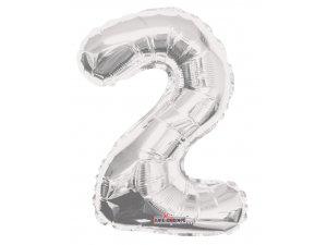 Číslice 2 stříbrná malá 35 cm