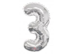 Číslice 3 stříbrná malá 35 cm