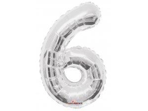 Číslice 6 stříbrná malá 35 cm
