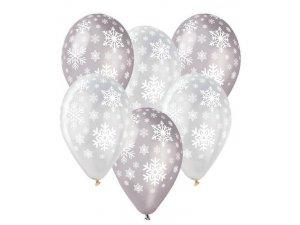 Balónek pastel 30 cm vločky potisk (100ks/bal)