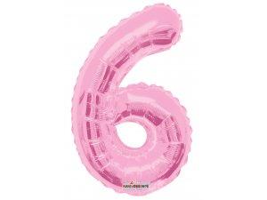 Číslice 6 růžová malá 35 cm