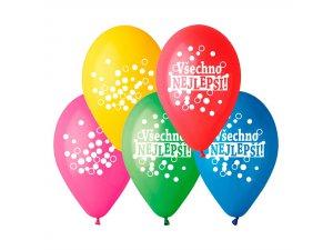 Balónek pastel 30 cm Všechno nejlepší potisk (100ks/bal)