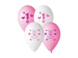 Balónek pastel 30 cm 1.narozeniny HOLKY potisk