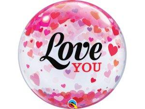 """22"""" bublina - LOVE YOU a konfetové srdce"""
