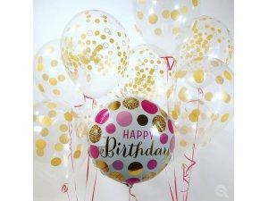 """18"""" foliový balónek kruh - Narozeniny růžové a zlaté puntíky - 49160_49164_LS.jpg"""