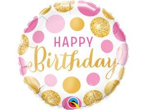 """18"""" balónek - Narozeniny růžové a zlaté puntíky"""