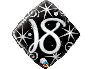 """18"""" balónek - Elegantní černé narozeniny 18"""