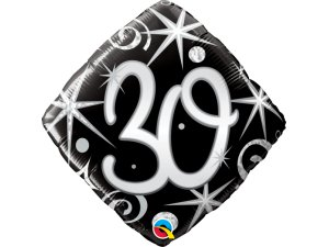 """18"""" balónek - Elegantní černé narozeniny 30"""