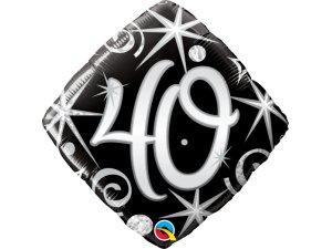 """18"""" balónek - Elegantní černé narozeniny 40"""
