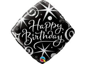 """18"""" balónek - Elegantní černé narozeniny"""