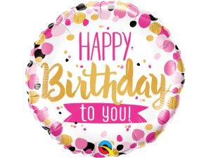 """18"""" foliový balónek kruh - Happy Bday to you! růžovo-zlaté"""
