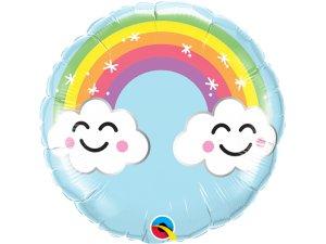 "09"" fóliový balónek kruh - Sluníčko a duha 23cm - 58459B_F.png"