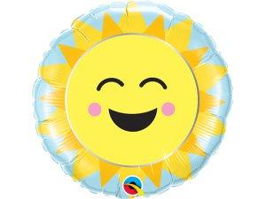 "09"" fóliový balónek kruh - Sluníčko a duha 23cm"