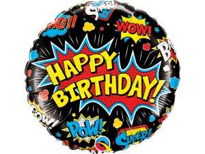 """18"""" balónek - BDAY Superhrdinové (černý)"""
