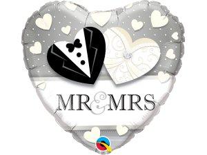 "18"" balónek srdce - MR.& MRS. svatba"