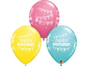 """11"""" balónek - Narozeninové vlaječky (balení 25ks)"""