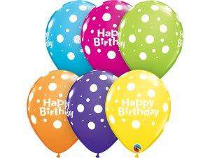 """11"""" balónek - Narozeniny s puntíky (balení 25ks)"""