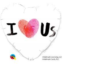 """18"""" balónek srdce - I (otisklé srdce) US"""