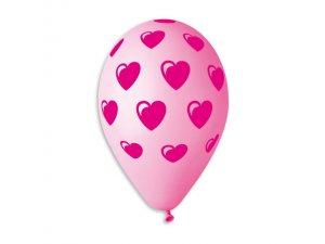 Balónek pastel 30 cm Srdce potisk #001/#057