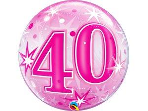 """22"""" bublina - Růžové narozeniny 40"""