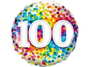"""18"""" fóliový balónek - barevné konfety 100"""