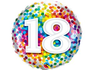 """18"""" fóliový balónek - barevné konfety 18"""