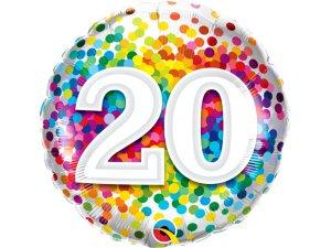 """18"""" fóliový balónek - barevné konfety 20"""