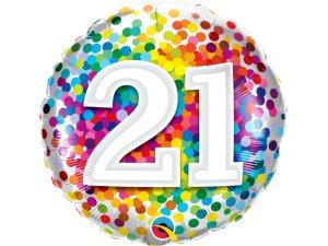 """18"""" fóliový balónek - barevné konfety 21"""